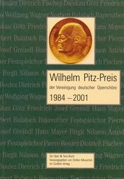 Wilhelm Pitz-Preis der Vereinigung deutscher Opernchöre 1984-2001